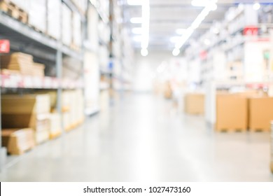 Blur warehouse background, Blurred store factory, industry warehouse space and hardware box for delivery with bokeh light background, business logistic distribution storage cargo concept