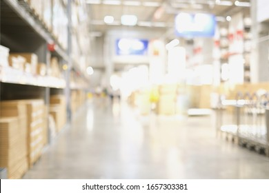 Blur warehouse background, Blurred store factory, industry warehouse space and hardware box for delivery with abstract bokeh light background, business logistic distribution storage cargo banner