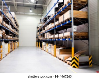 Blur warehouse background, Blurry store factory, industry space and hardware box for delivery with bokeh light background, business logistic distribution storage cargo concept.