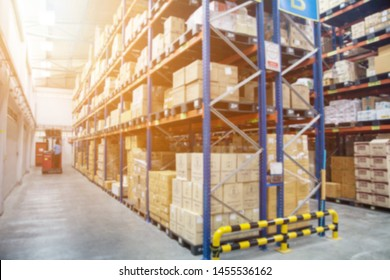 Blur Warehouse inventory product stock for logistic background, Long shelves with a variety of boxes (Lights background)
