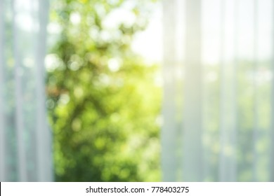 Blur of white curtain with window view / tree garden background.