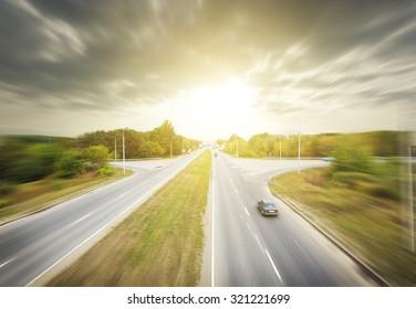 Blured asphalt road