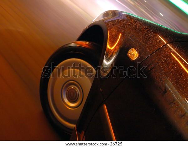 Blured car motion at night