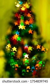 Blured sparks of light on cristmas tree, spruce lights