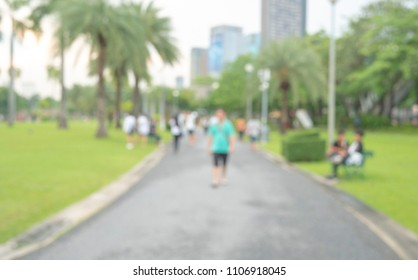 blured style people joging in the park