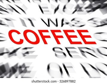 Blured text with focus on COFFEE