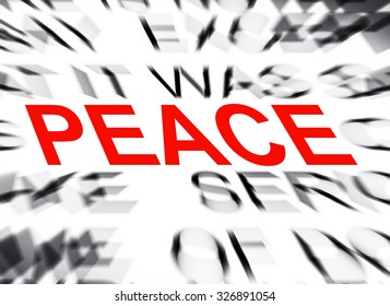 Blured text with focus on PEACE