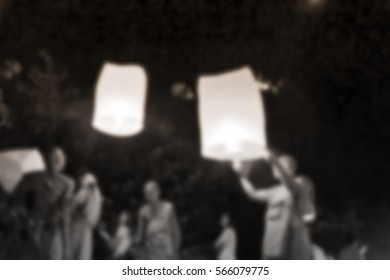 Blurred abstract background of Floating Lantern Festival in Thailand