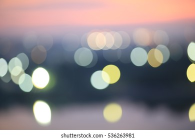 Blurred abstract background lights, beautiful cityscape view , star and flower bokeh abstract bokeh