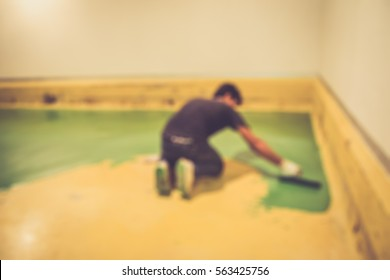 Blurred abstract background of Man made floor epoxy.