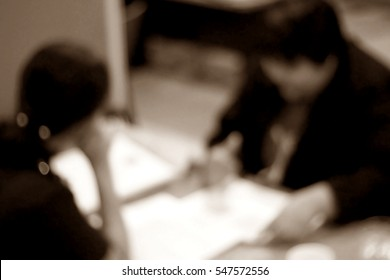 Blurred abstract background of meeting