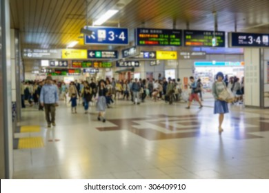 Blurred abstract background of people on  subway train,japan