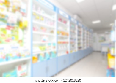 blurred abstract background with store, pharmacy, minimarket