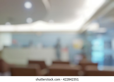 Blurred abstract background of waiting zone for admit patient   waiting to see doctor in hospital, clinic with nurse