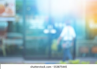Blurred abstract background of Walking to the shops