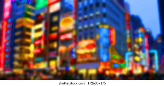 Blurred abstract photo of Shinjuku in Tokyo at night with neon glowing lights.
