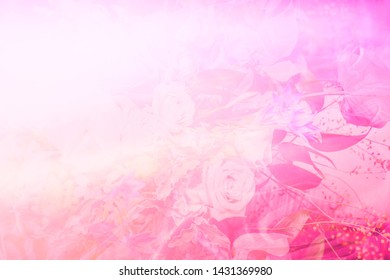 Blurred abstract pink floral background. Greeting card concept
