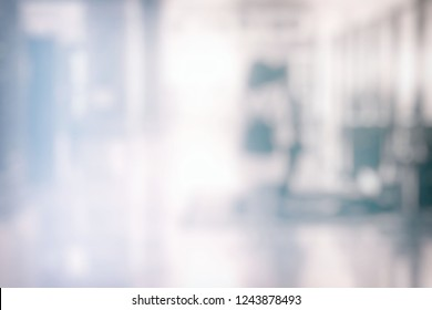 Blurred Abstract White Hallway Room Background.