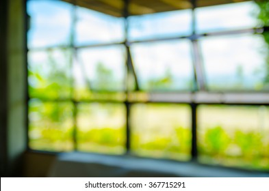 blurred abstract window with nature background