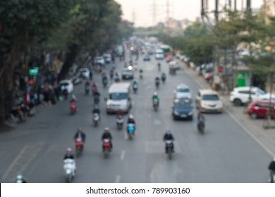 Blurred aerial view of traffic on Hanoi street
