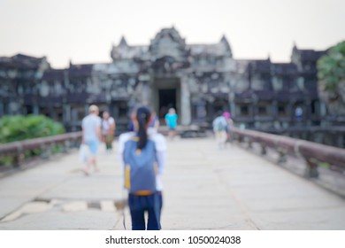 blurred asian woman traveling at siem reap combodia.