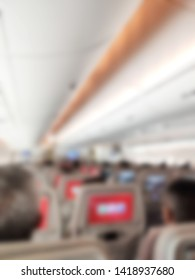 Blurred Aviation Background, Cabin of Commercial Aircraft