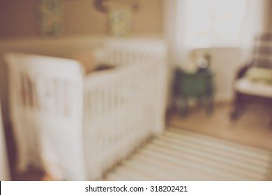Blurred Baby Crib with Retro Instagram Style Filter