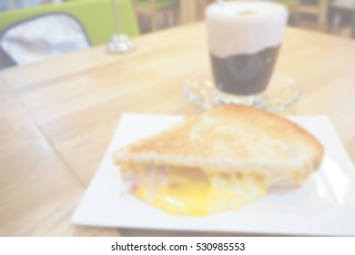 Blurred  background abstract and can be illustration to article of Ham and cheese sandwich