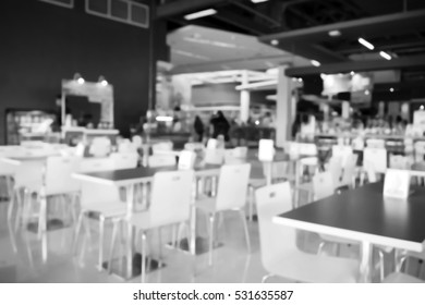 Blurred  background abstract and can be illustration to article of Tables and chairs in restaurant