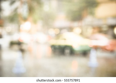 Blurred  background abstract and can be illustration to article of Traffic in rainy day in the city