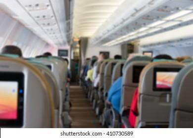 Blurred background of Airplane interior