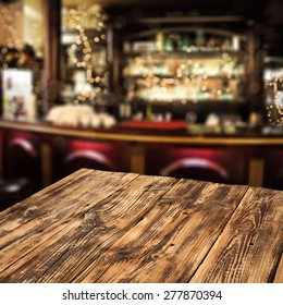 blurred background of bar and dirty table