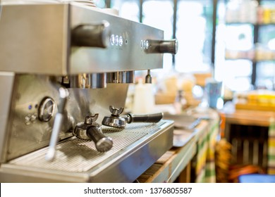 The blurred background of the beverage maker (coffee) that is intended for making water menus, is modern and saves time in customer service, tastes mellow and more delicious.