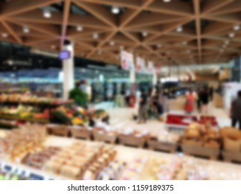 Blurred Background of Big Supermarket store