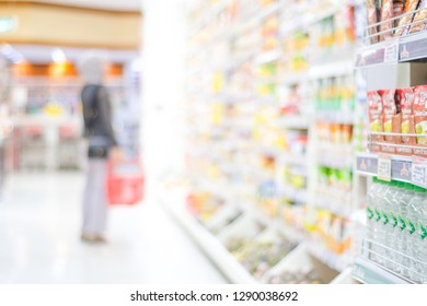 Blurred background, Blur people shopping at product shelf in supermarket background, business concept