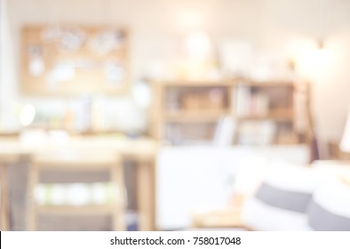 Blurred background, blur working room interior design background, casual living lifestyle