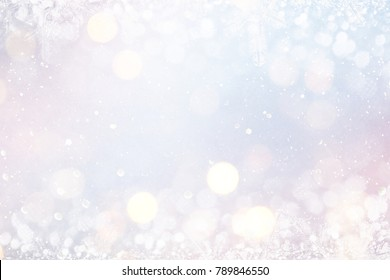 Blurred background with bokeh. Christmas and Happy New Year greeting card.