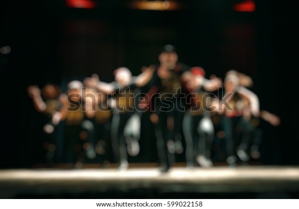 Blurred background : Bokeh lighting in concert with audience, Music showbiz concept