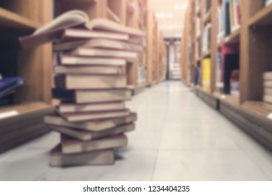 Blurred background of book and library room