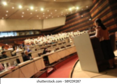 Blurred background business people forum Meeting Conference Training Learning Coaching Study Concept