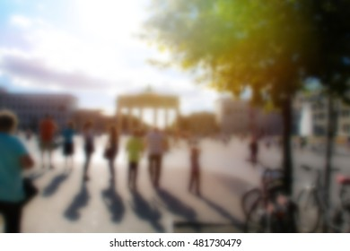 Blurred Background, City of Berlin, Germany; Brandenburg Gate with Visitors