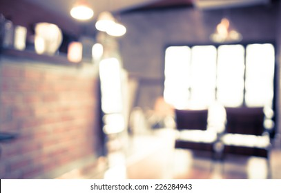 Blurred background : Coffee shop counter blur background with bokeh in garden