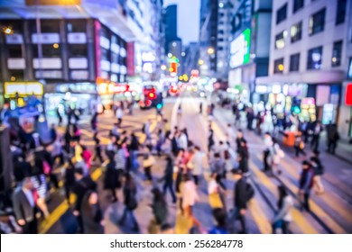 Blurred background crowded people in Hong Kong city - take place in WanChai  district