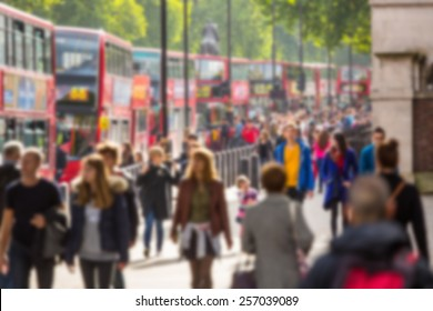 Blurred background of crowded street in London