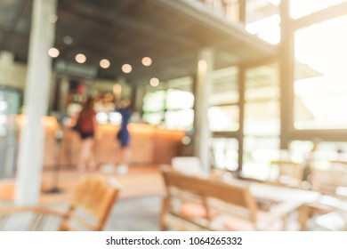 Blurred background : Customer at coffee shop blur background with bokeh, Vintage toned.