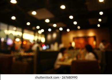 Blurred background : Customer at restaurant blur background with bokeh