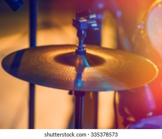 blurred background, elements of drum festival in the hall