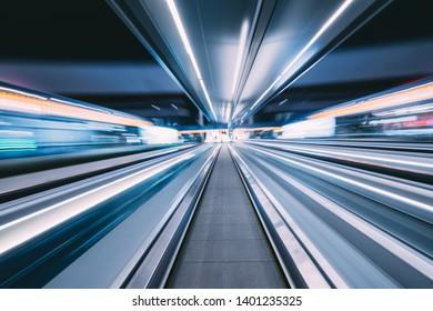 blurred background in elevator of interior