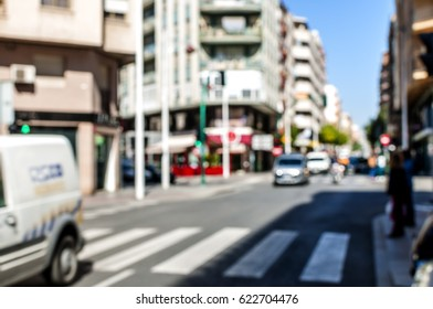 Blurred background exterior view looking crosswalk, Out of focus background, Blurred street
