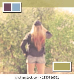 Blurred background of a fashion woman in a natural place with web elements for advertising